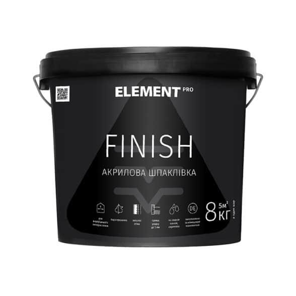 Готова до використання біла фінішна шпаклівка Element PRO Finish 8 кг
